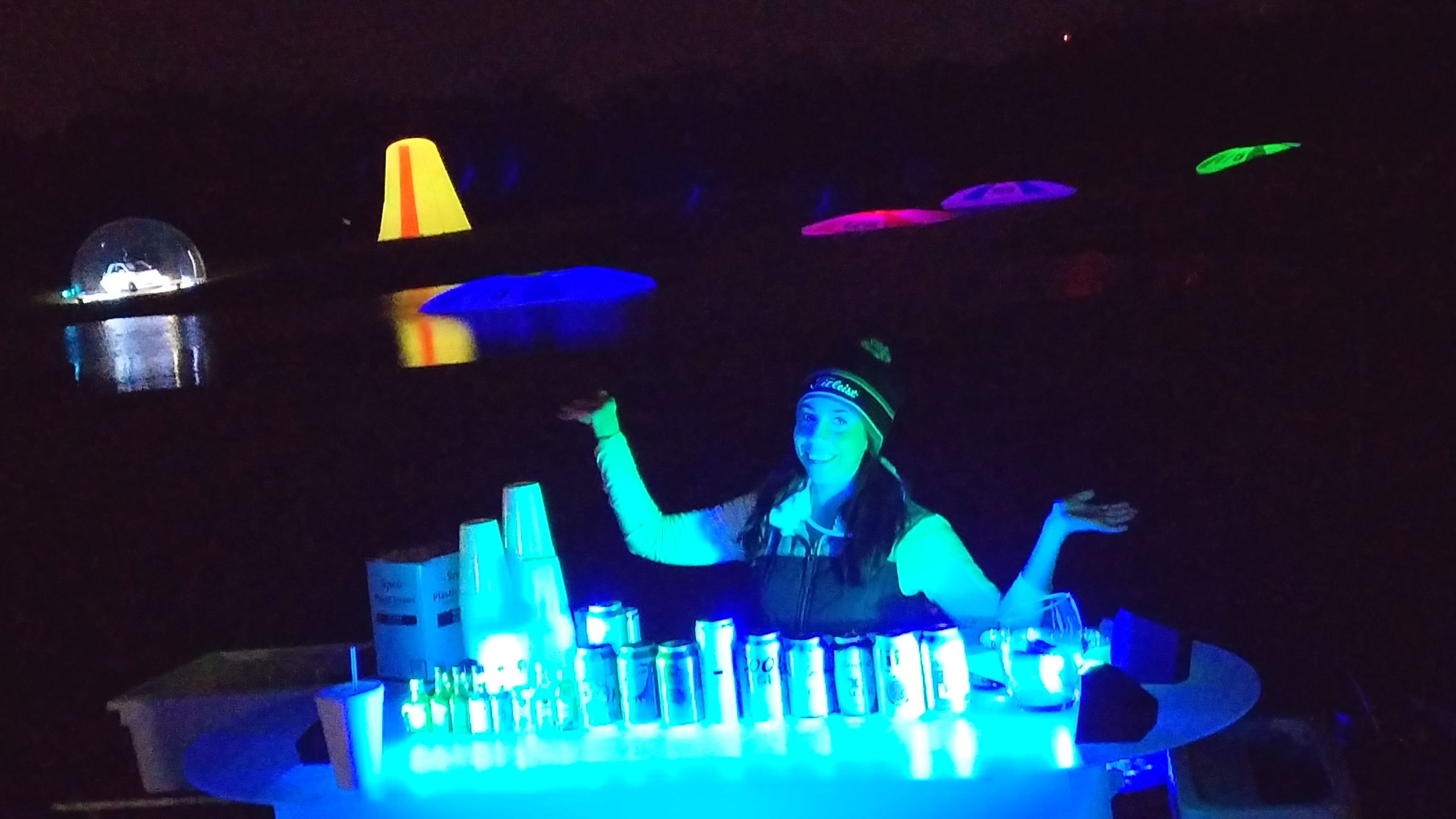 Glow bar at cosmic driving range